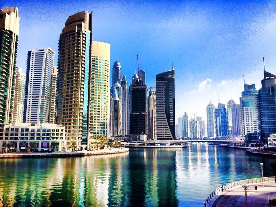 Dubai Marina and the surrounding Skyscrapers