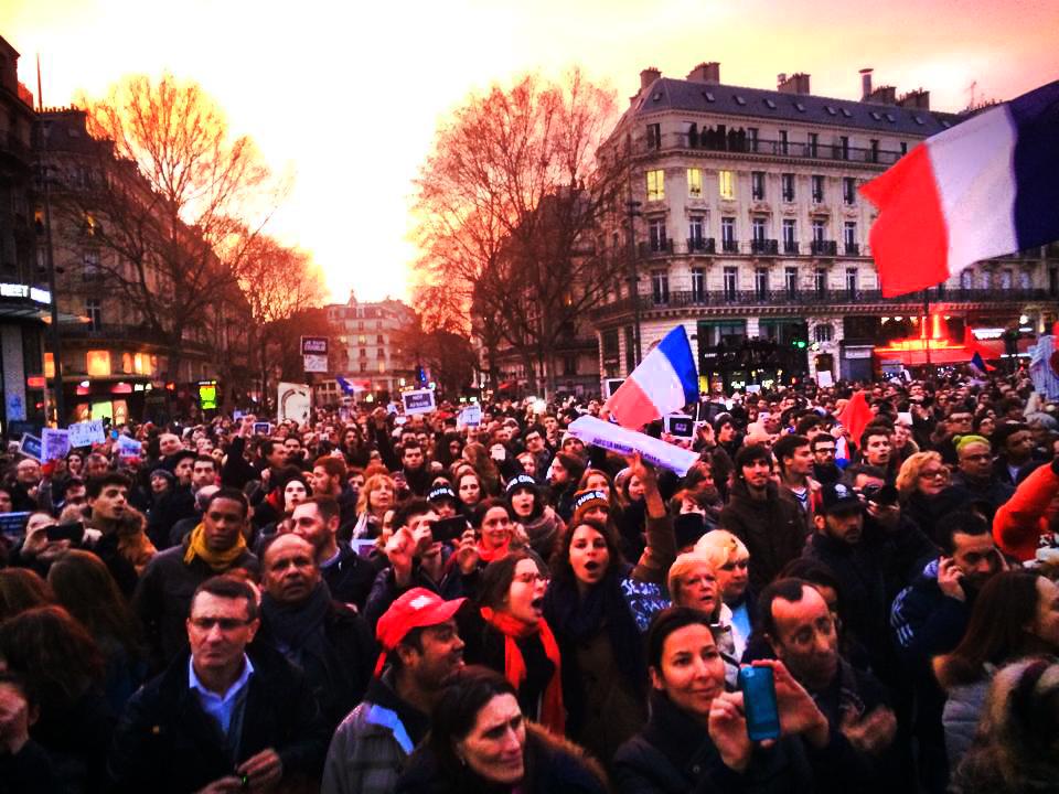 Crowd Approaching the Place de la Republic, Je Suis Charlie