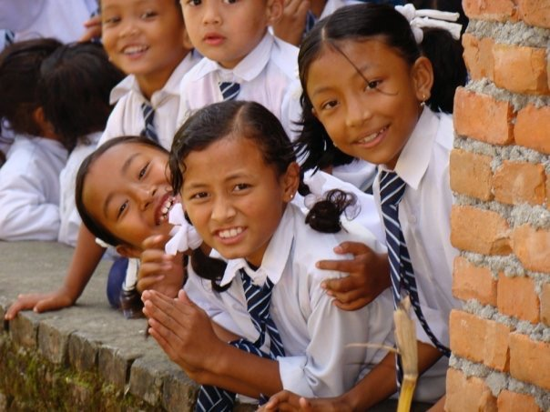 Nepal Girls in school uniforms, Kathmandu