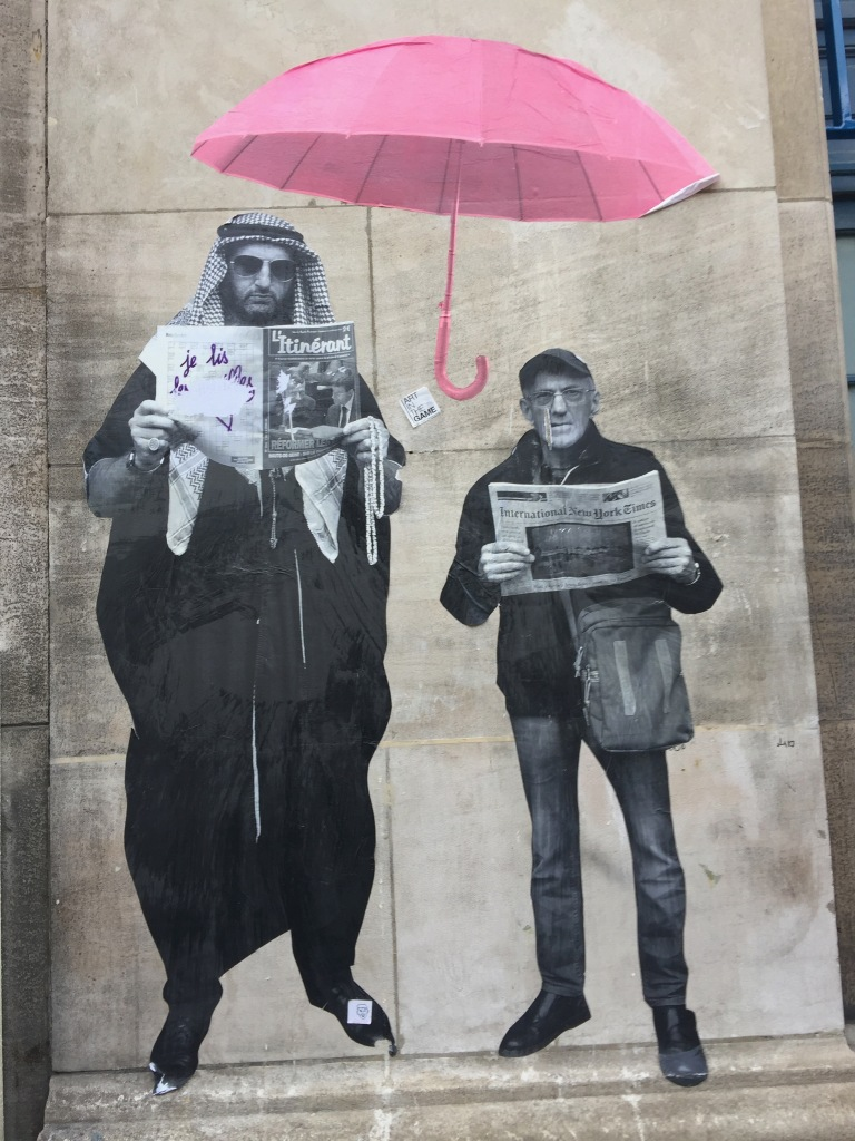 Pink Umbrella and 2 Men Pasteups